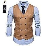 Cyparissus Mens Vest Waistcoat Men's Suit Dress Vest For Men or Tuxedo Vest (L. Khaki 3#)