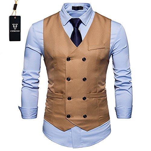 Cyparissus Mens Vest Waistcoat Men's Suit Dress Vest For Men or Tuxedo Vest (XL, Khaki 3#)