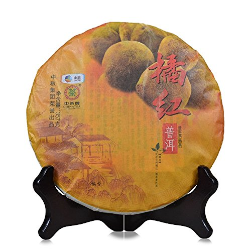 Puerh Tea 2016 Chinese Tea Puerh Tea Puerh Tea Puerh Tea Puer Tea 普洱茶 2016年中茶 橘红普洱 普洱熟茶 357克/饼 茶叶 puerh tea puer tea by 中茶