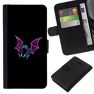 LECELL--Cuero de la tarjeta la carpeta del tirón Smartphone Slots Protección Holder For Sony Xperia M2 -- Meter mosnter azul del palo --