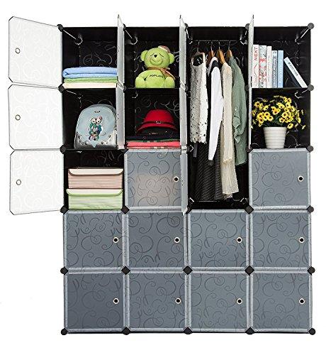 - Finnhomy DIY 20 Interlocking Storage DEEP Cube Closet with Door, Cube Storage Organizer, Open Closet, Bookcase, Wardrobe, Storage Cabinet for Clothes, Shoes, Toys, Magazines, DVDs, CDs, Cushion