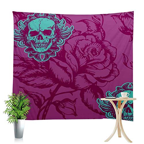 Wall Decor Tapestry Purple Rose Background Green Flower