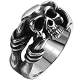 Men's Stainless Steel Dragon Claw Skull Ring Band Vintage Fashion Gothic Biker Punk Rock Silver Black Size 7