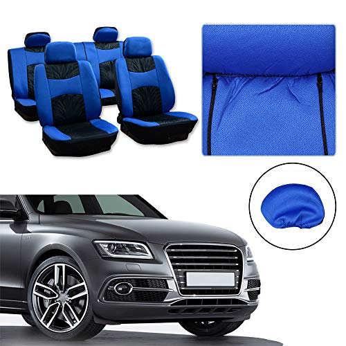 Seat Cover w/Headrest - 100% Breathable Seat Cover Washable Auto Covers Replacement fit for Most Cars(Black/Blue) ()