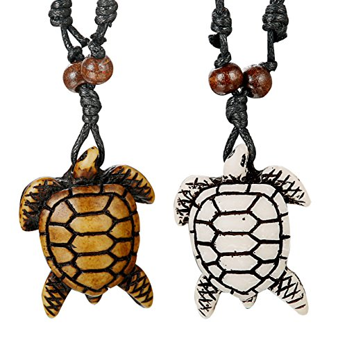 - Thunaraz 2pcs Turtle Necklace Hawaiian Sea Turtle Necklace His and Hers Necklace with Cotton Cord