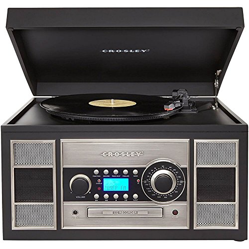 Crosley CR2413A-BK Memory Master II Turntable with Radio, CD Player/Recorder, Cassette and Aux-In, Black