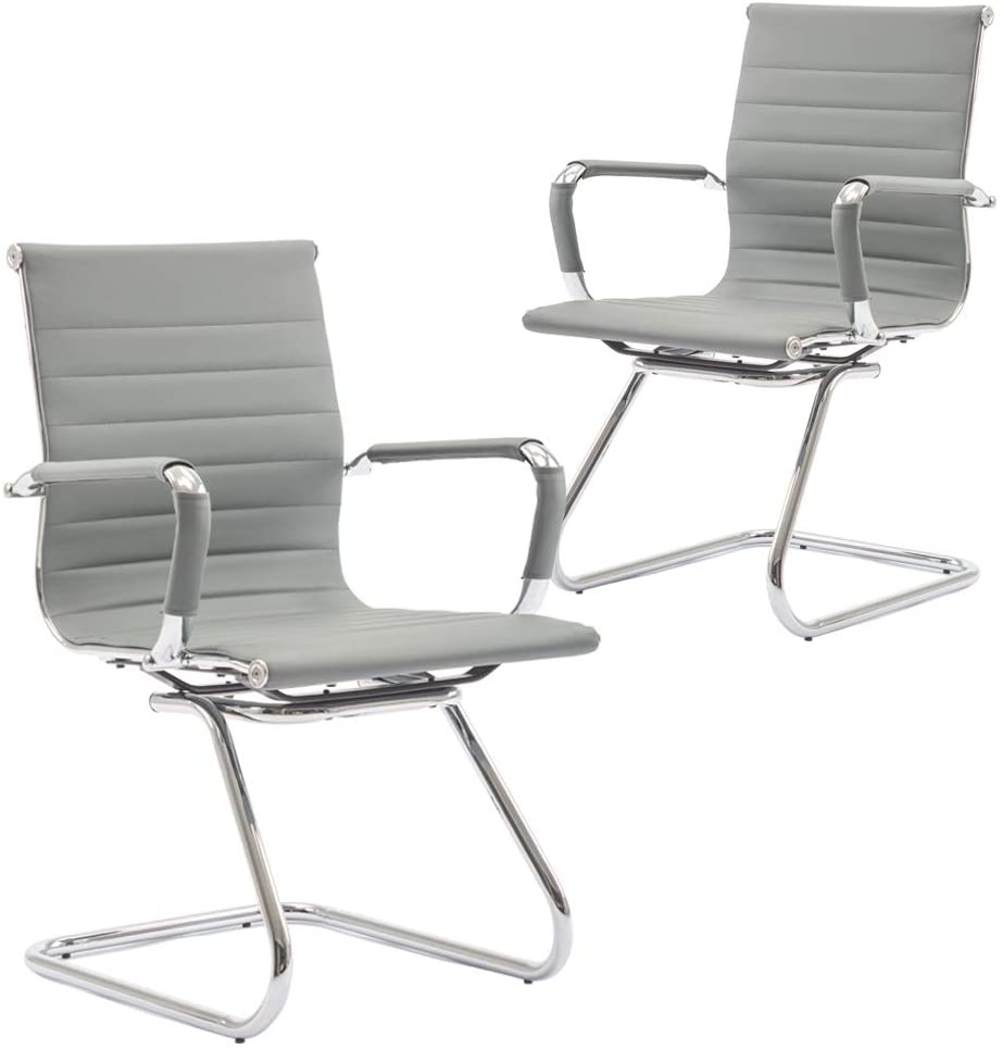 DM Furniture Reception Chairs Leather Conference Chairs Back Support Office Guest Chair Heavy Duty, Set of 2 (Gray)