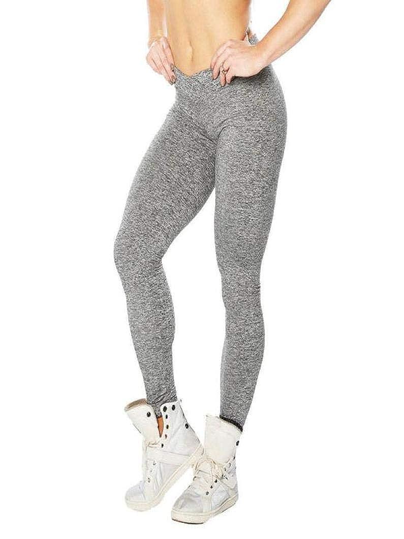 Ode_Joy Yoga Fitness Pantaloni -Tinta unita yoga pieghettati all'anca pantaloni della tuta Leggings stretti-athletic Pantalone-Donne alta vita sportiva palestra Palestra Pantaloni