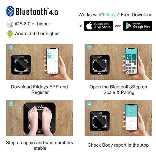 NICEFUSE Bilance per il Grasso Corporeo, Bilancia Bluetooth di Alta Precisione con APP, Monitor Della Composizione Corporea e Bilancia Pesapersone Intelligente con 13 Misure di Base del Corpo