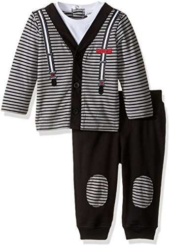 Calvin Klein Baby Cardigan with Patched Pants Set, Black, 3/6 Months