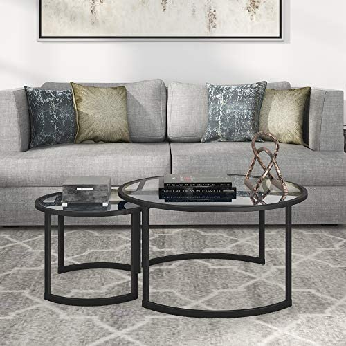 Henn Hart Nested Round Glass Coffee Table