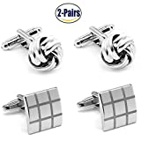 2 Pairs Mens Cufflinks Knot and Square Unique Wedding Business Shirt Cuff Links Mix Design Set For Mens Jewelry With Gift Box By Gilind