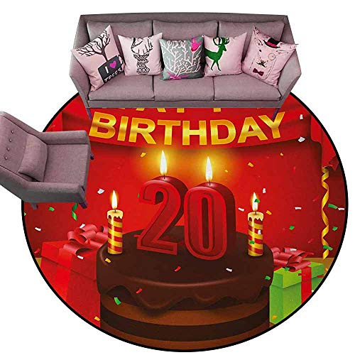 Floor Mat Entrance Doormat 20th Birthday,Happy Birthday Party Curtains Boxes and Flags on The Red Colored Backdrop,Multicolor Diameter 48