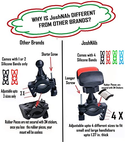 JoshNAh Bike Phone Mount , Universal Cell Phone Holder for Bicycle Handlebars , fits Iphone X , 8 , 7 , 7s , 6 , 6s plus , Galaxy s7 edge , 8 , s9 , s6 for Motorcycle & Bike Accessories by JoshNAh (Image #1)