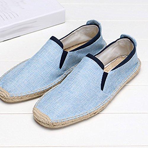 YOUJIA Herren Einfarbig Espadrilles Casual Atmungsaktiv Flach Slip-on Leinen Sommerschuhe #3 Licht Blau