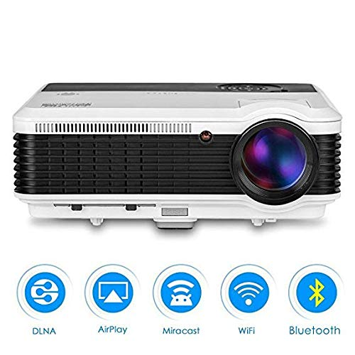 - LCD Wireless WiFi HD Projetor Home Theater Cinema HDMI Multimedia LED Smart Video Projectors with Android Bluetooth 4600 lumens, Support Airplay Youtube-TV KODI for Inside/Outside Movies Games Party