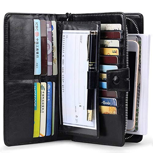 ID Blocking Large Capacity Genuine Leather Clutch Multi Card Organizer Wallet with Removable Checkbook Holder and Wrist Strap Black ()