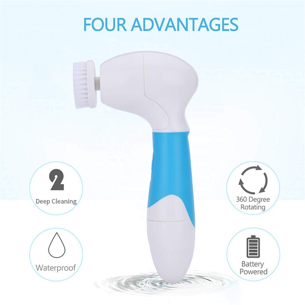 7-in-1 Facial Brush, Waterproof Facial Cleansing Brush with 7 Exfoliating Brush Heads - Blue