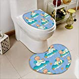 vanfan 2 Piece Bathroom Mat Set Baptism Sitting Sleeping Crawling Smiling Babies Clouds Catholic Children Absorbent Cover