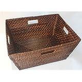 RT430564BR - Rectangular Rattan/Wicker Storage Basket or Storage Bin in Brown