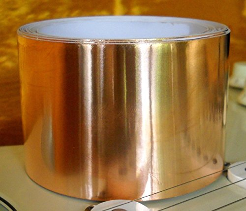 """Copper Foil Shielding Tape for Guitars - 10-foot Roll X 50mm (1.97"""") - Conductive Adhesive"""