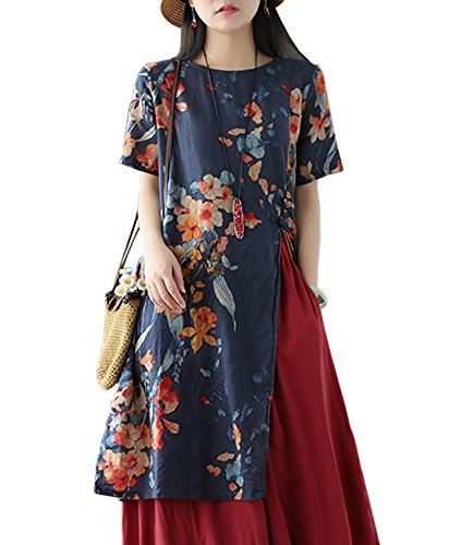 - YESNO E81 Women Casual Loose Floral Blouse Dress 100% Linen Chinese Traditional Frogs Side Split Short Sleeve Pocket