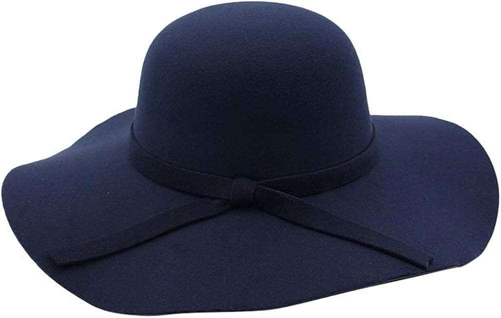 Insun Mujer Sombrero de Fieltro Oto/ño Invierno Fedora ala Ancha Sombreros de Vestir con Bowknot