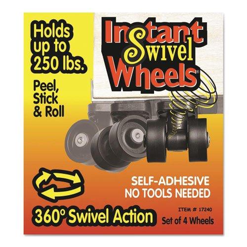 (RollArounds Instant Swivel Wheels, Self-Adhesive, 250 lbs/Set, Black, 4/Set (17240))