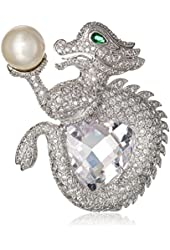 "CZ by Kenneth Jay Lane ""Trend Collection"" 45 cttw Trillion Dragon Brooch, 45 CTTW"