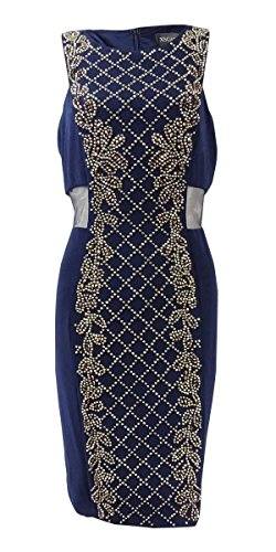 - Xscape Women's Mesh-Inset Beaded Jersey Sheath Dress (8, Navy)