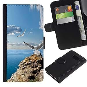 YiPhone /// Tirón de la caja Cartera de cuero con ranuras para tarjetas - ICONO DEL ROCK GAVIOTAS y MAR - Samsung Galaxy S6