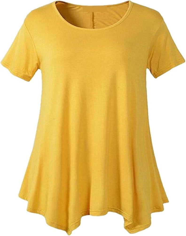 x8jdieu3 Summer Plus Size Camiseta De Manga Corta para Mujer De Manga Corta Cuello Redondo Suelto Camisa con Fondo En Color Liso Top: Amazon.es: Ropa y accesorios