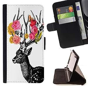 - Deer Cute - - Monedero PU titular de la tarjeta de cr?dito de cuero cubierta de la caja de la bolsa FOR Sony Xperia Z1 Compact D5503 Retro Candy