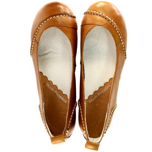 Femmes Hh Chiots Janessa Cuir Plat Ballet Pompe Chaussures 5-10 Tan