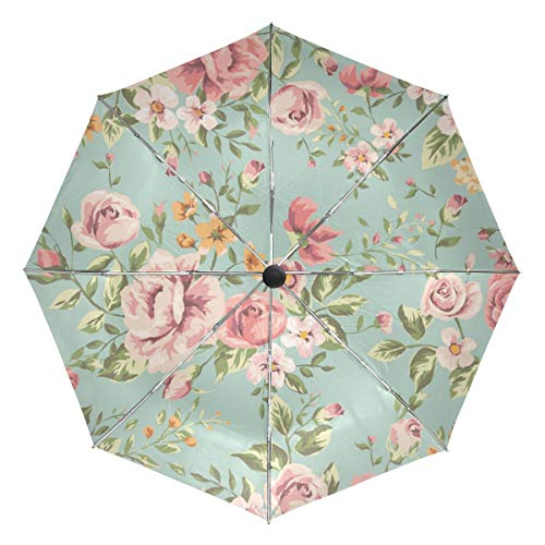 - Lenenl Vintage Flower Pattern Windproof Travel Umbrella Automatically Open Close Lightweight Compact UV Protection Umbrella
