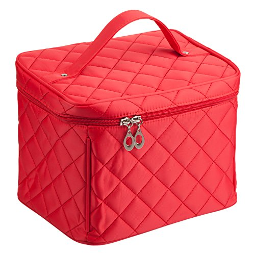 EN'DA Cosmetic Travel Case with quality zipper Large Makeup bags,portable toiletry bag Christmas Gift(Red) by EN'DA professional