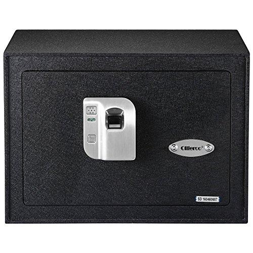 Ollieroo Safe 0.8 CF Steel Electronic Biometric Fingerprint Safe Box with Shelves Fingerprint Sensor Manual Key and Integrated LED Light Black -