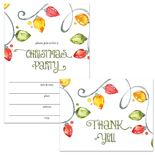 Christmas Party Invitations & Folding Thank You Cards Set w Envelopes (25 Each) Holiday Lights for Office & Family Parties Church Congregation Neighborhood Gathering Fill-in Invites Value Pair VS0070S