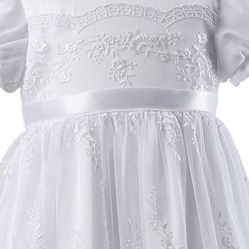 NIMBLE White Baby Girls Newborn 0-15M Christening Embroidered with Headband Gown Dress Outfit,