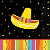 Amscan 509820 Fiesta Fun Beverage Napkins 9 3/4'' by 9 3/4'' Multicolor