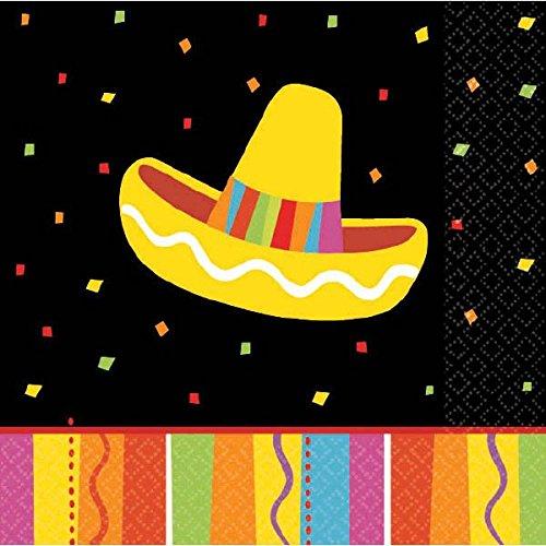 Amscan 509820 Fiesta Fun Beverage Napkins, 9 3/4
