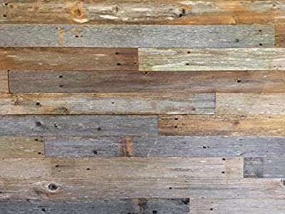 Reclaimed Barn Wood Wall Panel- Easy Peel and Stick Application