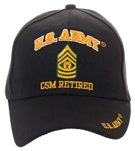 Artisan Owl Officially Licensed US Army Retired Baseball Cap - Multiple Ranks Available! (Command Sergeant (Command Sergeant Major Of The Army)