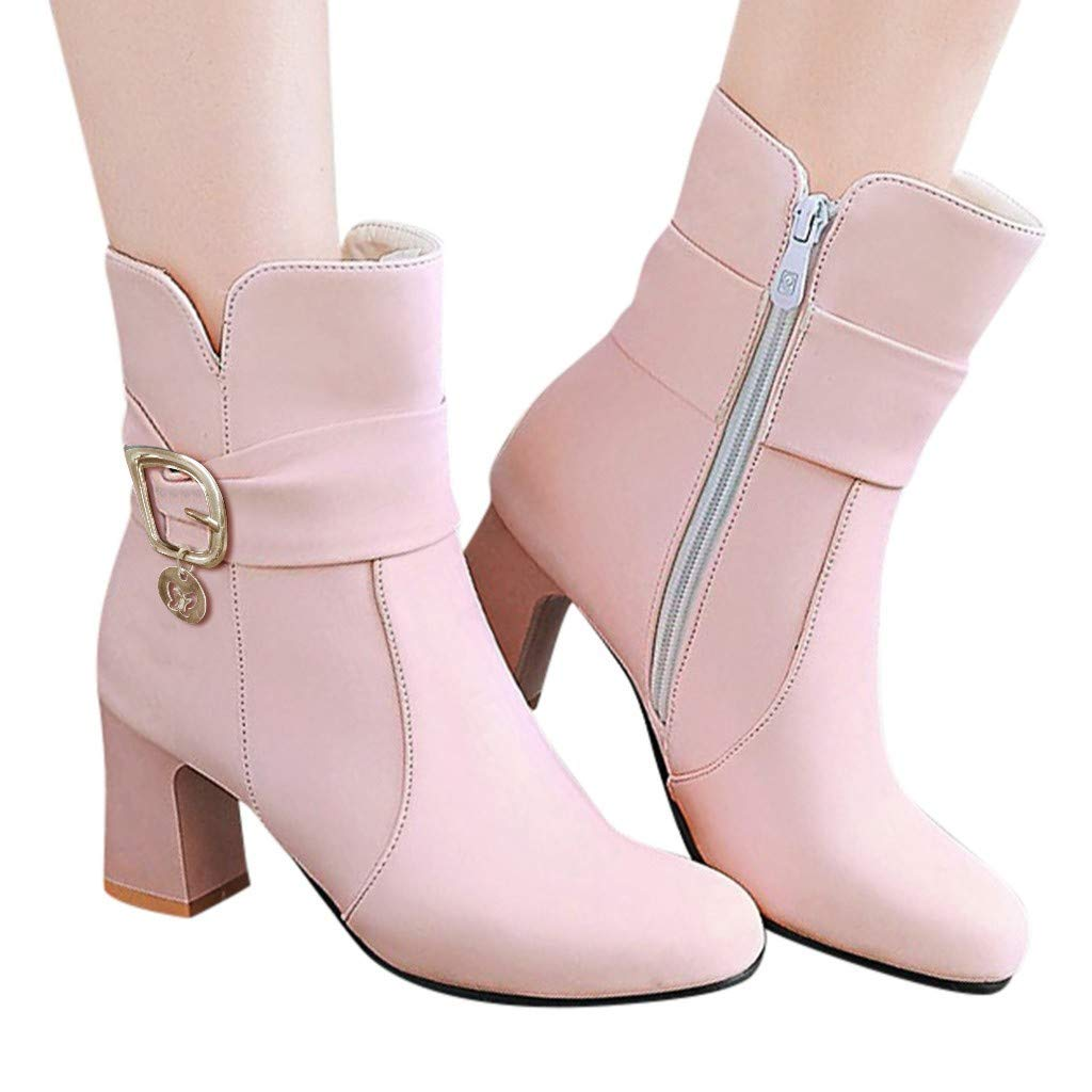Women Zipper Short Booties,Fashion Thick High Heel Ankle Boots Student Winter Flock Shoes Boot Warm Plush Casual Pumps Pink by Frunalte Women Shoes