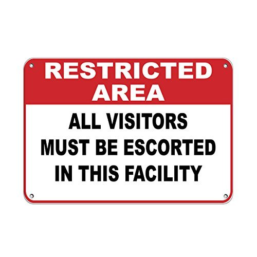 Personalized Metal Signs Restricted Area All Visitors Must Escorted Security Sign Aluminum Metal Sign 8 X 12 Inch