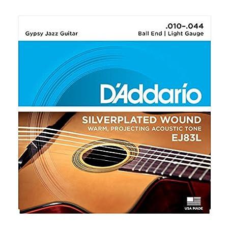 D'Addario EJ83L Gypsy Jazz Acoustic Guitar Strings, Ball End, Light, 10-44 D'Addario