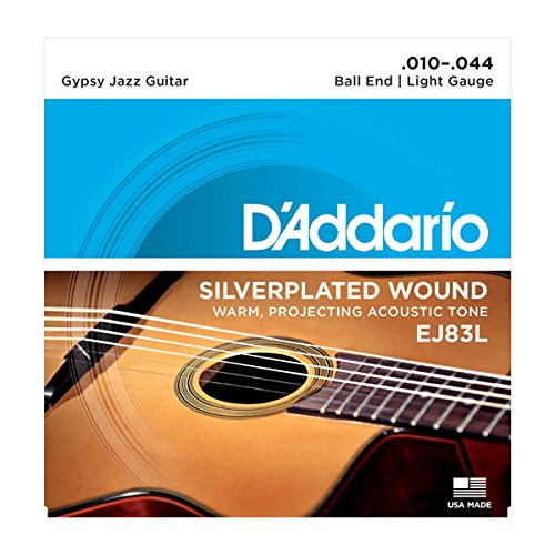 D'Addario EJ83L Gypsy Jazz Acoustic Guitar Strings, Ball End, Light, 10-44 (Daddario Strings Guitar Silver)
