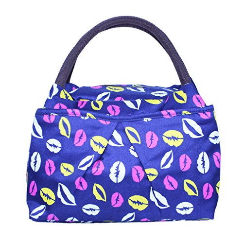 ZXKE Dots Print Design Women Bag Lunch Bag Tote (Lovely Kiss)