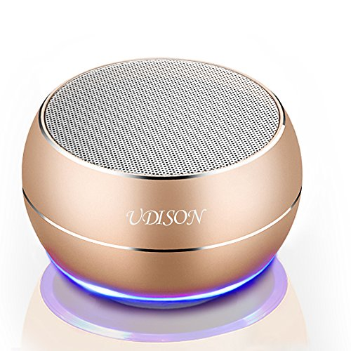 [Miniature subwoofer] Portable Bluetooth Wireless Speakers UDISON Mini Phone Speakers Built-in DSP HD Mic Handsfree Outdoor 3D Stereo Speakers Support 3.5 mm Pin/TF Card/USB Charging -Gold