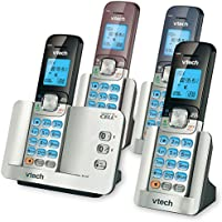 VTech DS6511-4A 4-Handset DECT 6.0 Cordless Phone with Bluetooth Connect to Cell and Caller ID, Expandable up to 5 Handsets, Wall-Mountable, Black/Blue/Brown
